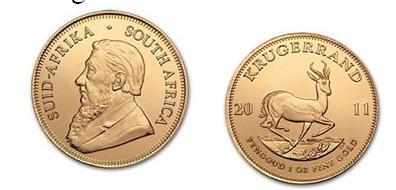 Kruggerrant de Sudáfrica para venta de monedas de oro